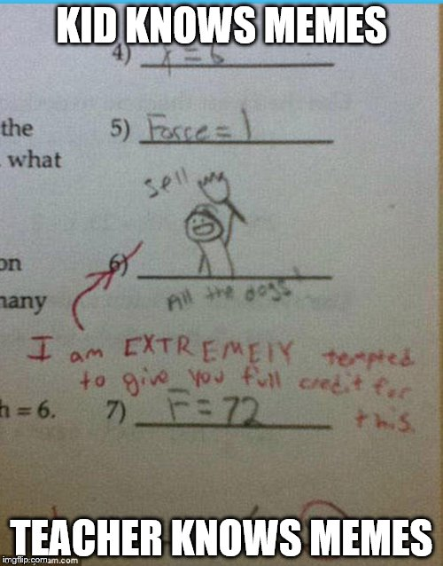 Pass all the tests... | KID KNOWS MEMES TEACHER KNOWS MEMES | image tagged in memes,test | made w/ Imgflip meme maker