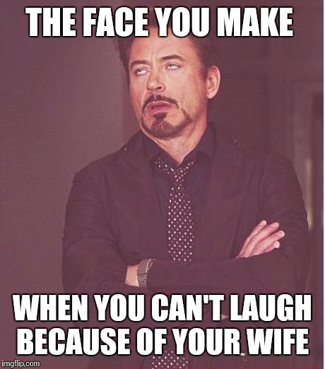 Face You Make Robert Downey Jr Meme | THE FACE YOU MAKE WHEN YOU CAN'T LAUGH BECAUSE OF YOUR WIFE | image tagged in memes,face you make robert downey jr | made w/ Imgflip meme maker