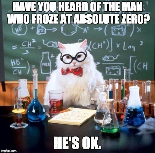 Chemistry Cat Meme | HAVE YOU HEARD OF THE MAN WHO FROZE AT ABSOLUTE ZERO? HE'S 0K. | image tagged in memes,chemistry cat | made w/ Imgflip meme maker