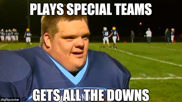 142if5 image tagged in down syndrome,memes,funny memes,football,original,Meme Still Gets Down