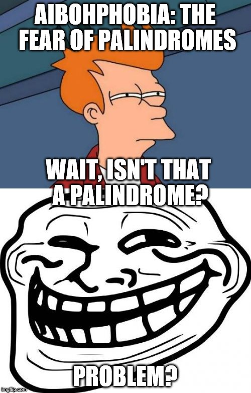 AIBOHPHOBIA: THE FEAR OF PALINDROMES PROBLEM? WAIT, ISN'T THAT A PALINDROME? | made w/ Imgflip meme maker