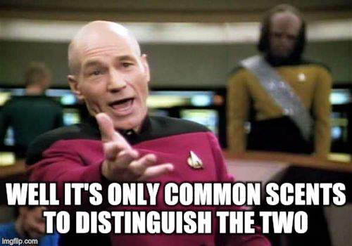 Picard Wtf Meme | WELL IT'S ONLY COMMON SCENTS TO DISTINGUISH THE TWO | image tagged in memes,picard wtf | made w/ Imgflip meme maker