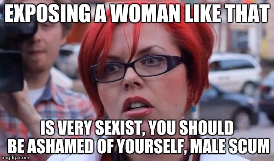 EXPOSING A WOMAN LIKE THAT IS VERY SEXIST, YOU SHOULD BE ASHAMED OF YOURSELF, MALE SCUM | made w/ Imgflip meme maker