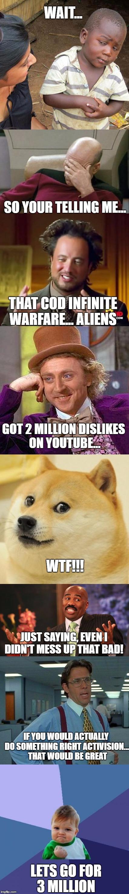 get your shit together activation, lets go for three million   | WAIT... LETS GO FOR 3 MILLION SO YOUR TELLING ME... THAT COD INFINITE WARFARE... ALIENS GOT 2 MILLION DISLIKES ON YOUTUBE... WTF!!! JUST SAY | image tagged in memes,so true memes,activision | made w/ Imgflip meme maker