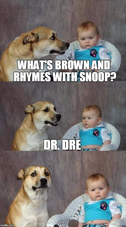 Dad Joke Dog Meme | WHAT'S BROWN AND RHYMES WITH SNOOP? DR. DRE | image tagged in memes,dad joke dog | made w/ Imgflip meme maker