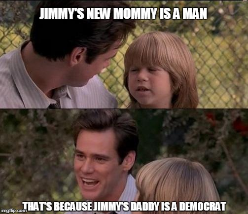 Thats Just Something X Say Meme | JIMMY'S NEW MOMMY IS A MAN THAT'S BECAUSE JIMMY'S DADDY IS A DEMOCRAT | image tagged in memes,thats just something x say | made w/ Imgflip meme maker