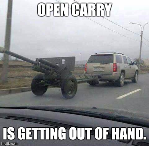 I support the second amendment, but really??? | OPEN CARRY IS GETTING OUT OF HAND. | image tagged in open carry,second amendment | made w/ Imgflip meme maker