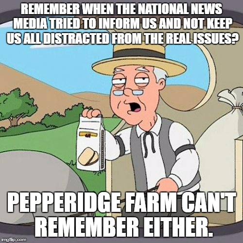 Pepperidge Farm Remembers Meme | REMEMBER WHEN THE NATIONAL NEWS MEDIA TRIED TO INFORM US AND NOT KEEP US ALL DISTRACTED FROM THE REAL ISSUES? PEPPERIDGE FARM CAN'T REMEMBER | image tagged in memes,pepperidge farm remembers | made w/ Imgflip meme maker