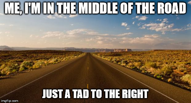 The road |  ME, I'M IN THE MIDDLE OF THE ROAD; JUST A TAD TO THE RIGHT | image tagged in the road | made w/ Imgflip meme maker