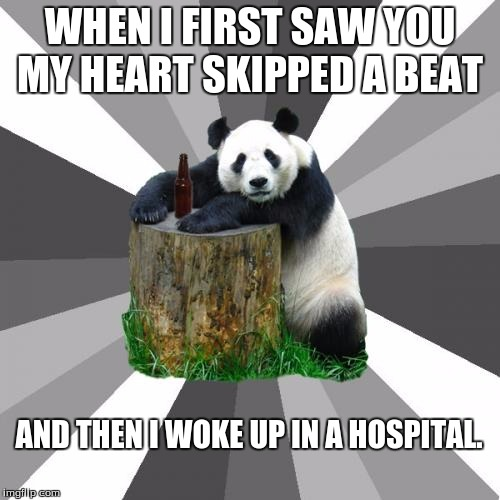 Pickup Line Panda Meme |  WHEN I FIRST SAW YOU MY HEART SKIPPED A BEAT; AND THEN I WOKE UP IN A HOSPITAL. | image tagged in memes,pickup line panda | made w/ Imgflip meme maker