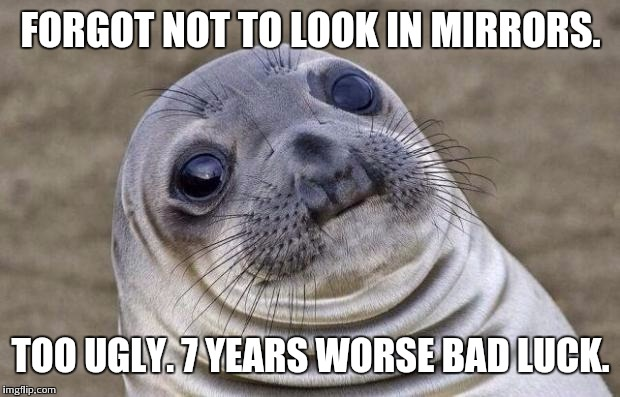 Awkward Moment Sealion Meme | FORGOT NOT TO LOOK IN MIRRORS. TOO UGLY. 7 YEARS WORSE BAD LUCK. | image tagged in memes,awkward moment sealion | made w/ Imgflip meme maker