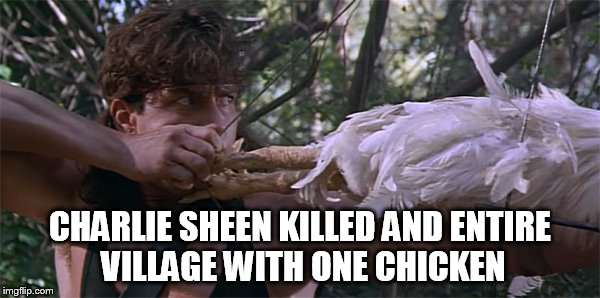 CHARLIE SHEEN KILLED AND ENTIRE VILLAGE WITH ONE CHICKEN | made w/ Imgflip meme maker