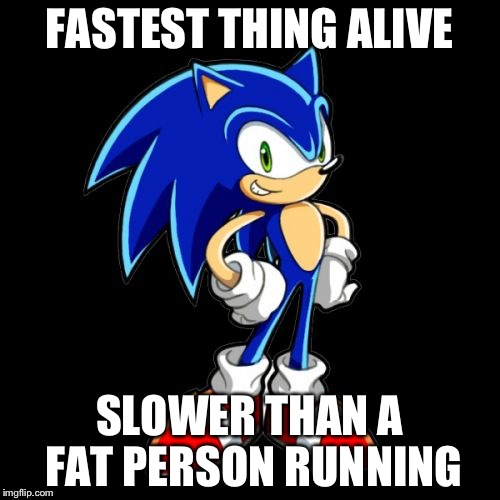 Youre Too Slow Sonic | FASTEST THING ALIVE SLOWER THAN A FAT PERSON RUNNING | image tagged in memes,youre too slow sonic | made w/ Imgflip meme maker