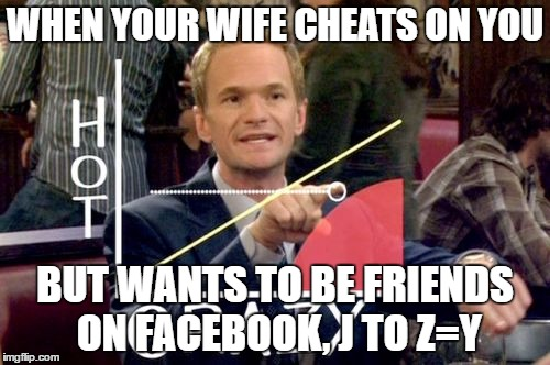 Hot Scale | WHEN YOUR WIFE CHEATS ON YOU BUT WANTS TO BE FRIENDS ON FACEBOOK, J TO Z=Y | image tagged in memes,hot scale | made w/ Imgflip meme maker