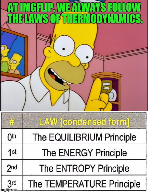 AT IMGFLIP, WE ALWAYS FOLLOW THE LAWS OF THERMODYNAMICS. | made w/ Imgflip meme maker