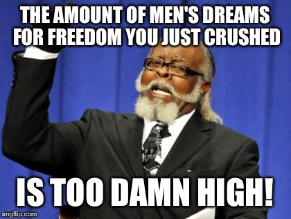 Too Damn High Meme | THE AMOUNT OF MEN'S DREAMS FOR FREEDOM YOU JUST CRUSHED IS TOO DAMN HIGH! | image tagged in memes,too damn high | made w/ Imgflip meme maker