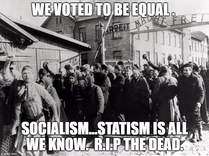 auschwitz |  WE VOTED TO BE EQUAL . SOCIALISM...STATISM IS ALL WE KNOW.  R.I.P THE DEAD. | image tagged in auschwitz | made w/ Imgflip meme maker