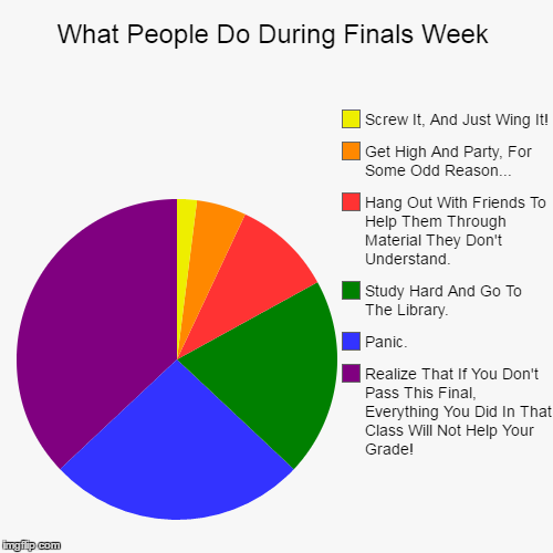 What People Do During Finals Week | What People Do During Finals Week | Realize That If You Don't Pass This Final, Everything You Did In That Class Will Not Help Your Grade!, P | image tagged in funny,pie charts,finals week,finals,panic,study | made w/ Imgflip chart maker