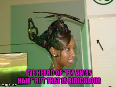 "On the upside, she and her ""hairacopter"" are ready for the airshow. 