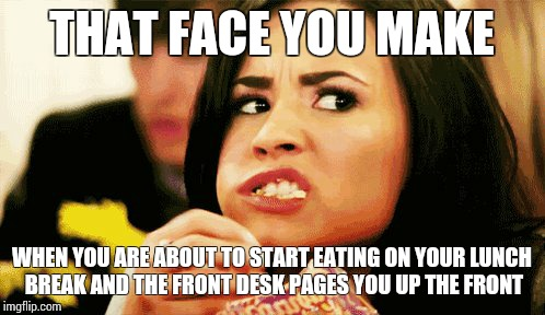 THAT FACE YOU MAKE WHEN YOU ARE ABOUT TO START EATING ON YOUR LUNCH BREAK AND THE FRONT DESK PAGES YOU UP THE FRONT | image tagged in funny | made w/ Imgflip meme maker