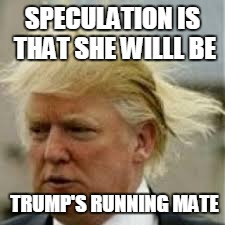 SPECULATION IS THAT SHE WILLL BE TRUMP'S RUNNING MATE | made w/ Imgflip meme maker