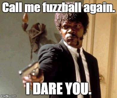Say That Again I Dare You Meme | Call me fuzzball again. I DARE YOU. | image tagged in memes,say that again i dare you | made w/ Imgflip meme maker