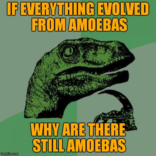 Philosoraptor Meme | IF EVERYTHING EVOLVED FROM AMOEBAS WHY ARE THERE STILL AMOEBAS | image tagged in memes,philosoraptor | made w/ Imgflip meme maker