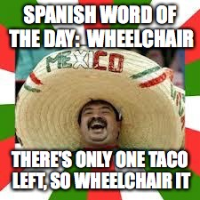Mexican Fiesta | SPANISH WORD OF THE DAY:  WHEELCHAIR THERE'S ONLY ONE TACO LEFT, SO WHEELCHAIR IT | image tagged in mexican fiesta | made w/ Imgflip meme maker
