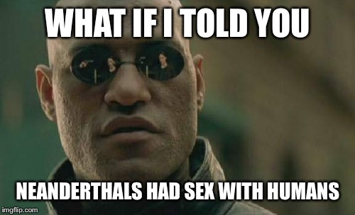 Matrix Morpheus Meme | WHAT IF I TOLD YOU NEANDERTHALS HAD SEX WITH HUMANS | image tagged in memes,matrix morpheus | made w/ Imgflip meme maker