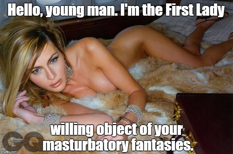 Hello, young man. I'm the First Lady willing object of your masturbatory fantasies. | made w/ Imgflip meme maker