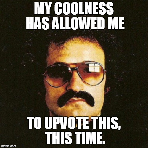 Giorgio Moroder cool mustache | MY COOLNESS HAS ALLOWED ME TO UPVOTE THIS, THIS TIME. | image tagged in giorgio moroder cool mustache | made w/ Imgflip meme maker