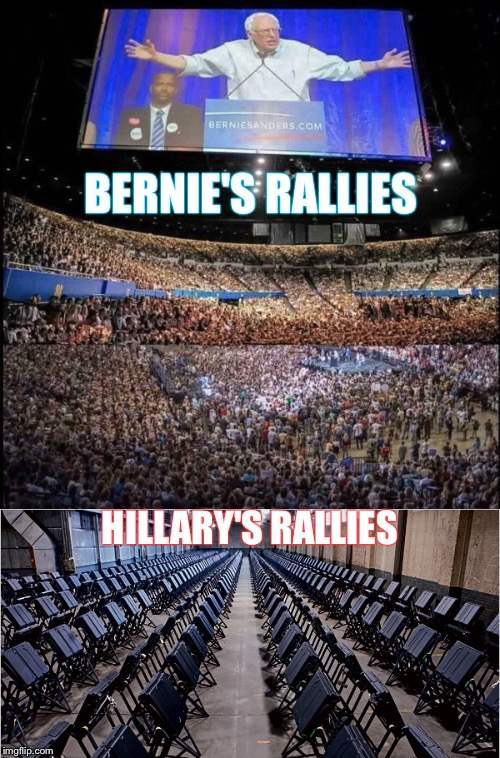 A Tale of 2 Rallies | BERNIE'S RALLIES HILLARY'S RALLIES | image tagged in bernie sanders,hillary clinton,rally,fraud,voting machines,primary | made w/ Imgflip meme maker