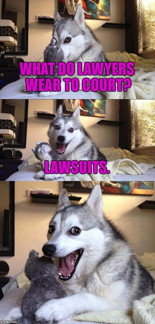 lawyer joke |  WHAT DO LAWYERS WEAR TO COURT? LAWSUITS. | image tagged in memes,bad pun dog,joke,funny,funny meme,lawyer | made w/ Imgflip meme maker