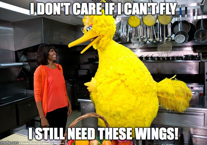 And you thought Mitt Romney didn't like PBS... | I DON'T CARE IF I CAN'T FLY I STILL NEED THESE WINGS! | image tagged in obama,clinton,michelle obama,chicken wings | made w/ Imgflip meme maker