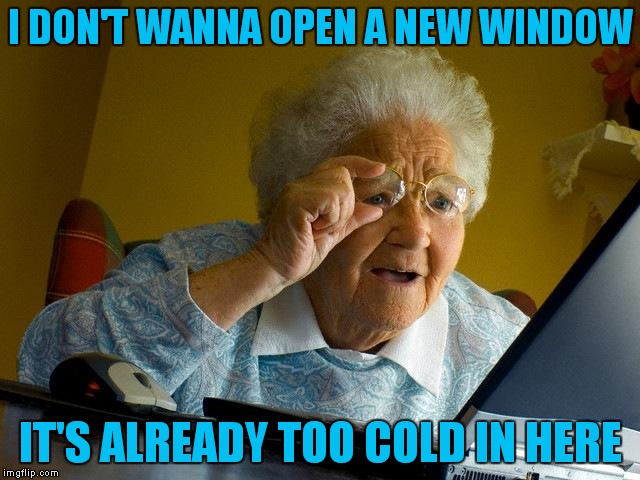 Grandma Finds The Internet Meme | I DON'T WANNA OPEN A NEW WINDOW IT'S ALREADY TOO COLD IN HERE | image tagged in memes,grandma finds the internet | made w/ Imgflip meme maker