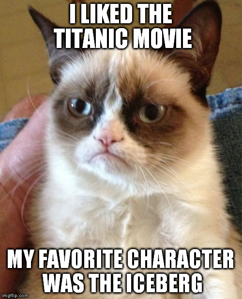 Grumpy Cat | I LIKED THE TITANIC MOVIE MY FAVORITE CHARACTER WAS THE ICEBERG | image tagged in memes,grumpy cat,titanic,funny,iceberg | made w/ Imgflip meme maker
