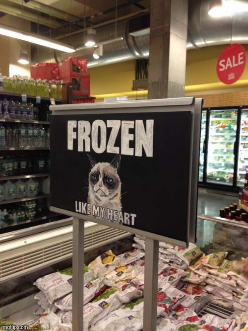 Grumpy cat frozen heart  | . | image tagged in grumpy cat frozen heart,grumpy cat | made w/ Imgflip meme maker