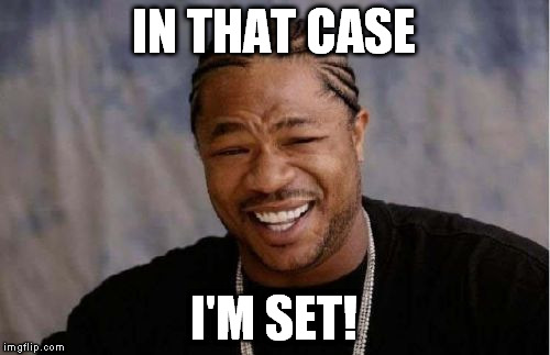 Yo Dawg Heard You Meme | IN THAT CASE I'M SET! | image tagged in memes,yo dawg heard you | made w/ Imgflip meme maker