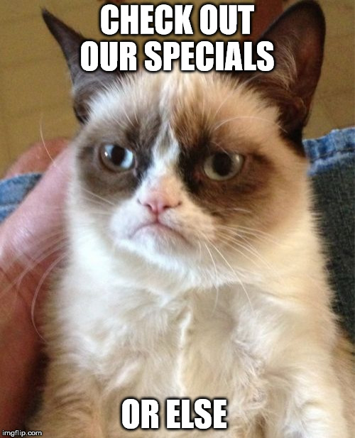 Grumpy Cat Meme | CHECK OUT OUR SPECIALS OR ELSE | image tagged in memes,grumpy cat | made w/ Imgflip meme maker