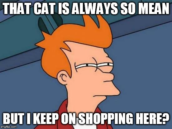 Futurama Fry Meme | THAT CAT IS ALWAYS SO MEAN BUT I KEEP ON SHOPPING HERE? | image tagged in memes,futurama fry | made w/ Imgflip meme maker