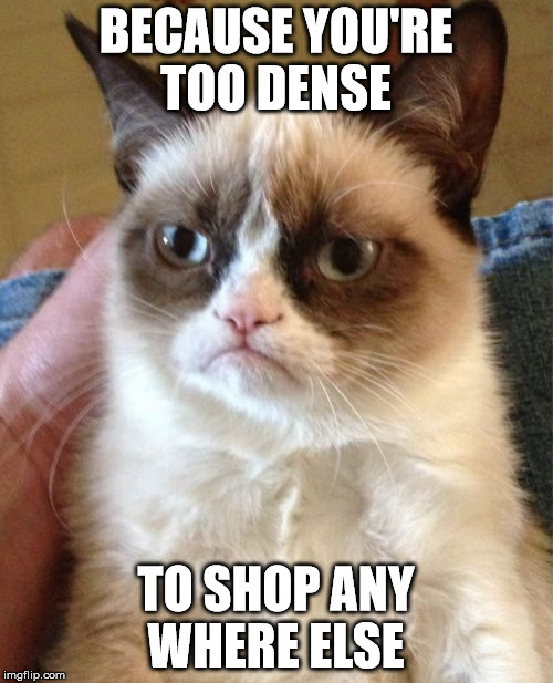 Grumpy Cat Meme | BECAUSE YOU'RE TOO DENSE TO SHOP ANY WHERE ELSE | image tagged in memes,grumpy cat | made w/ Imgflip meme maker