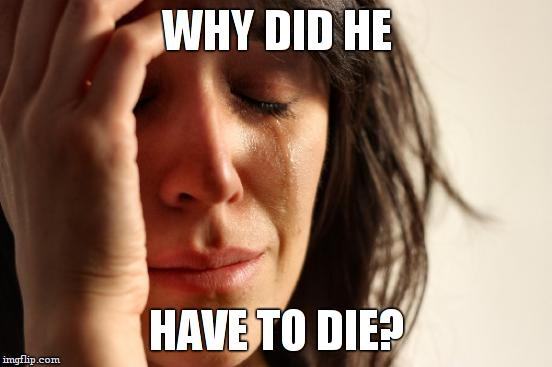 First World Problems Meme | WHY DID HE HAVE TO DIE? | image tagged in memes,first world problems | made w/ Imgflip meme maker