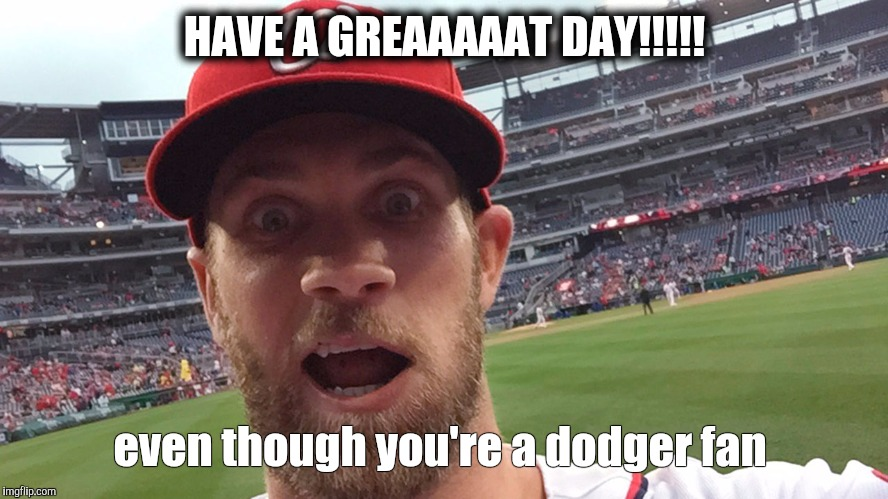 Bryce Harper | HAVE A GREAAAAAT DAY!!!!! even though you're a dodger fan | image tagged in bryce harper | made w/ Imgflip meme maker