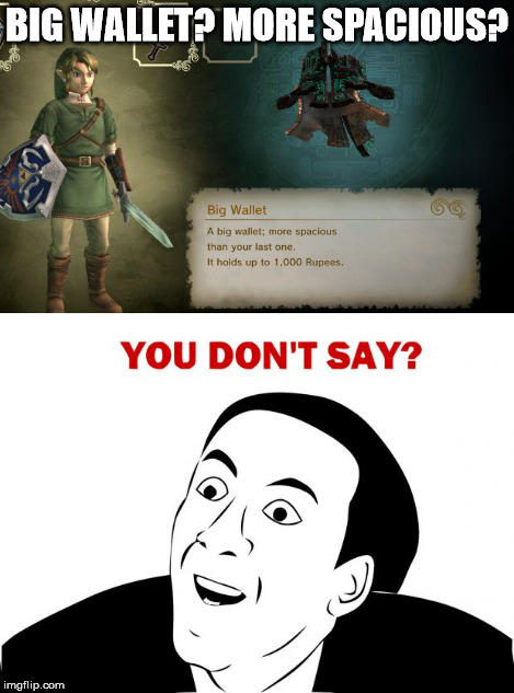 Srsly, Twilight Princess HD? :P | BIG WALLET? MORE SPACIOUS? | image tagged in you dont say,legend of zelda,twilight princess,rupees,wallet | made w/ Imgflip meme maker