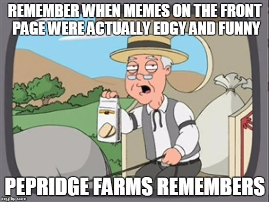 Where have all the edgy funny memes gone? |  REMEMBER WHEN MEMES ON THE FRONT PAGE WERE ACTUALLY EDGY AND FUNNY; PEPRIDGE FARMS REMEMBERS | image tagged in pepridge farm rembers,funny,memes,wtf | made w/ Imgflip meme maker