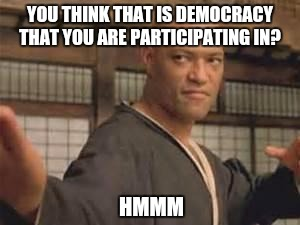Morpheus |  YOU THINK THAT IS DEMOCRACY THAT YOU ARE PARTICIPATING IN? HMMM | image tagged in morpheus | made w/ Imgflip meme maker