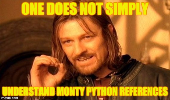 One Does Not Simply Meme | ONE DOES NOT SIMPLY UNDERSTAND MONTY PYTHON REFERENCES | image tagged in memes,one does not simply | made w/ Imgflip meme maker