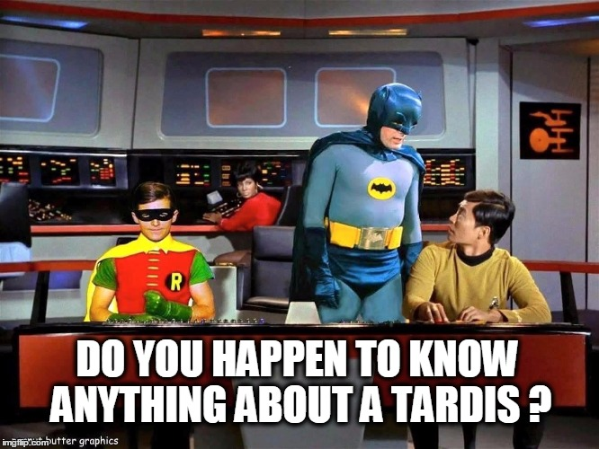Batman Star Trek  | DO YOU HAPPEN TO KNOW ANYTHING ABOUT A TARDIS ? | image tagged in batman star trek,dr who | made w/ Imgflip meme maker