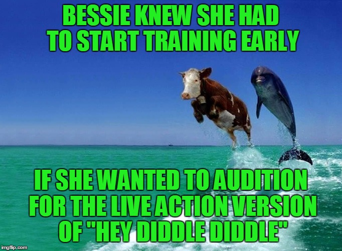 "BESSIE KNEW SHE HAD TO START TRAINING EARLY IF SHE WANTED TO AUDITION FOR THE LIVE ACTION VERSION OF ""HEY DIDDLE DIDDLE"" 