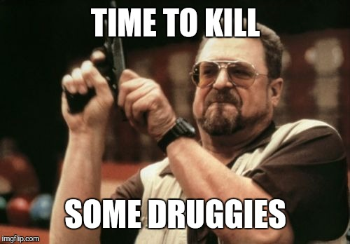 TIME TO KILL SOME DRUGGIES | image tagged in memes,am i the only one around here | made w/ Imgflip meme maker